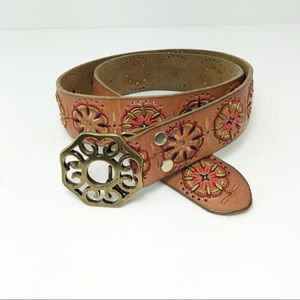 Accessories - Lucky Brand Brown Leather Embroidered & Stud Belt